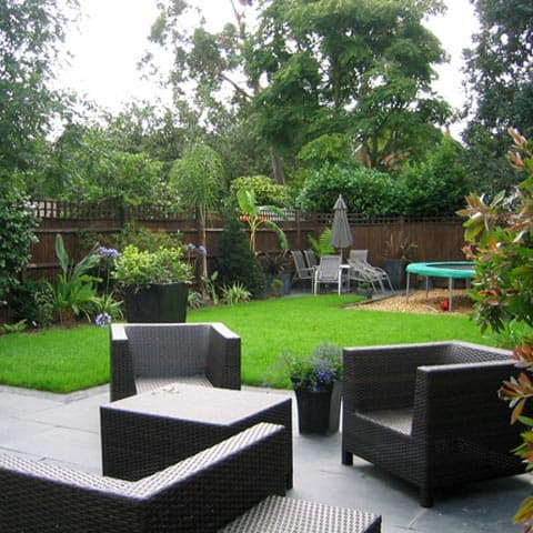 Patio seating area and kids play area in Kingston-upon-Thames