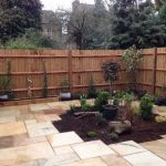 Sandstone Paving with central planted area in Teddington