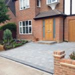 Beautiful grey block paved driveway in Surbiton