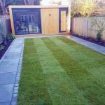 Paving and area laid to lawn around Garden Studio in Surbiton